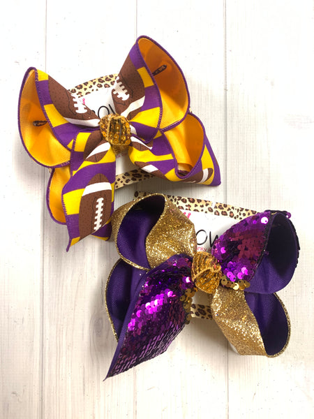 iBOWZ New Limited Release ~ Purple & Gold ~ Football & Flip Seqins hairbows