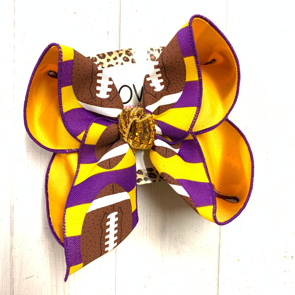 iBOWZ New Limited Release ~ Purple & Gold ~ LSU  Football & Flip Seqins hairbows