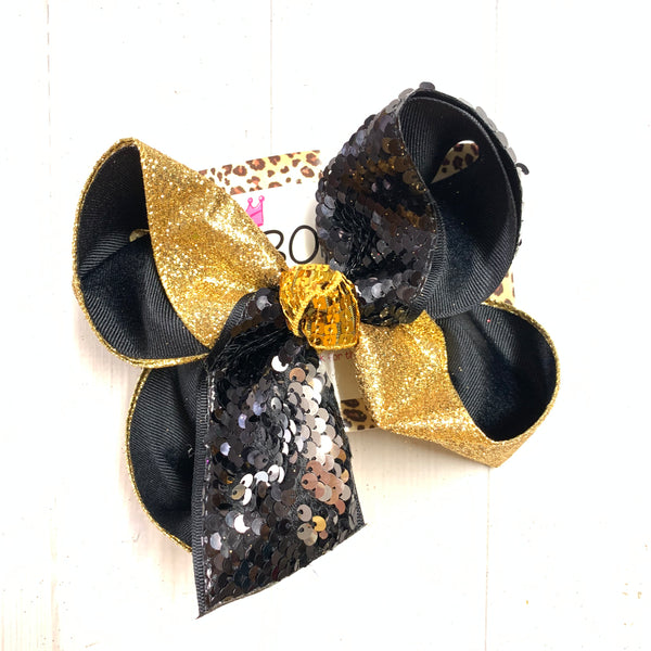 iBOWZ New Limited Release ~ BLACK & Gold ~ Football & Flip Seqins hair bow