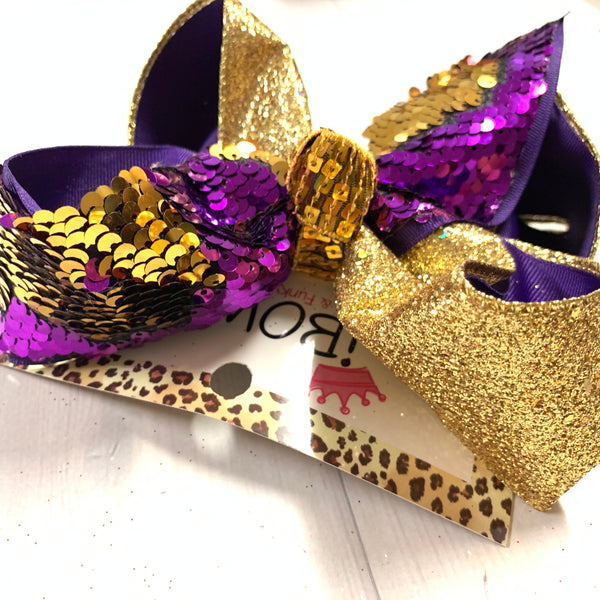 iBOWZ New Limited Release ~ Purple & Gold ~ Lsu ~ Football & Flip Seqins hairbows