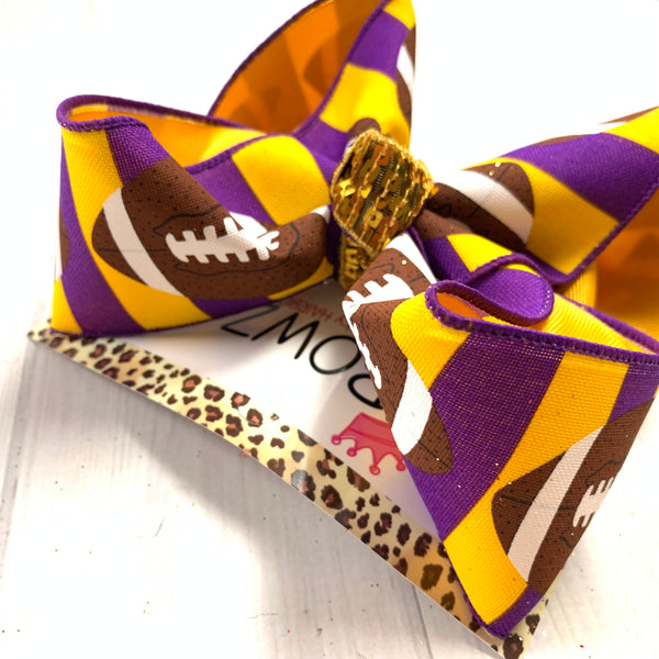 iBOWZ New Limited Release ~ Purple & Gold ~ LSU | Football & Flip Seqins hairbows