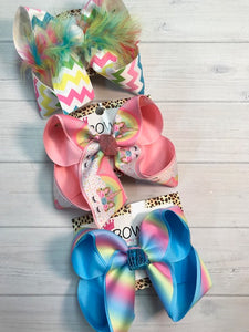 Unicorn, Chevron & Ombre Fun Spring  Hair bow Bundle of 3