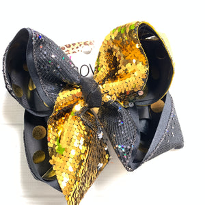 NEW YEAR BOW {NYE} FUN HAIRBOW ~ BLACK & GOLD FLIP SEQUIN