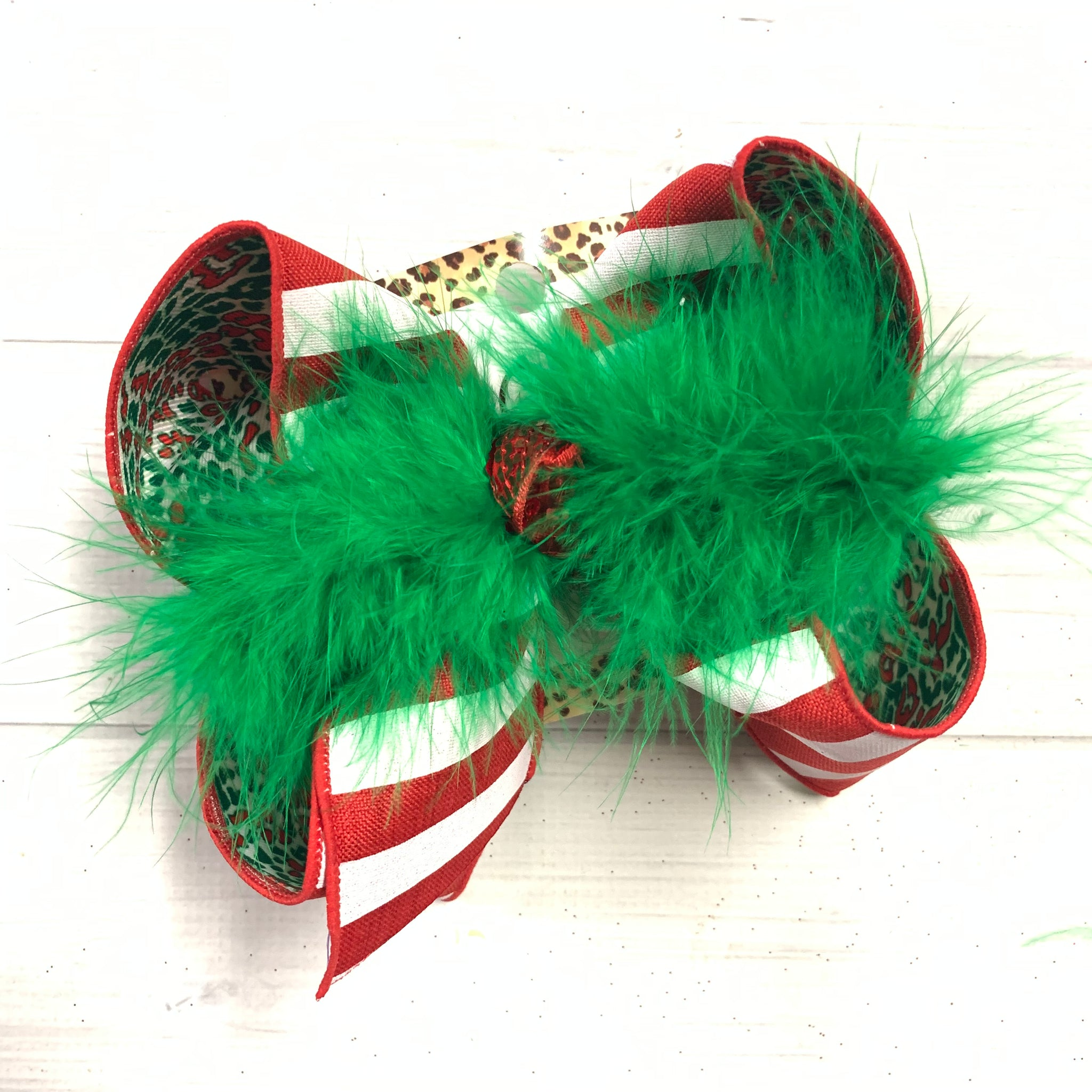 iBOWZ ~Christmas in JULY  ~ Stripes & Red & Green Leopard ~ fun Hairbow