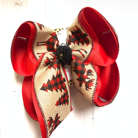 Buffalo Plaid Christmas trees & Elk Fun Hairbow by iBOWZ Fun & Funky Hairbows
