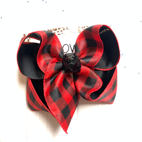Red & White Buffalo Plaid Fun Hairbow by iBOWZ Fun & Funky Hairbows
