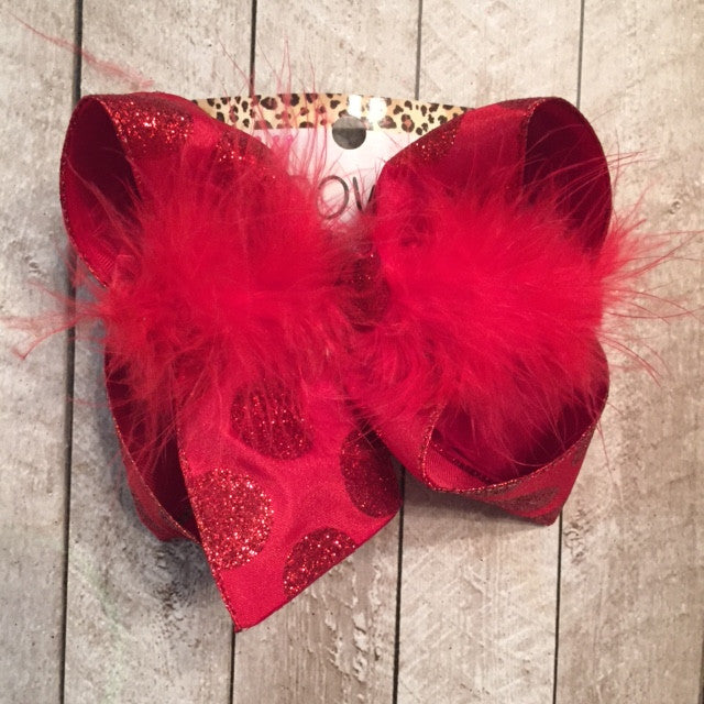 BIG RED GLITTER DOTS ON RED HAIRBOW