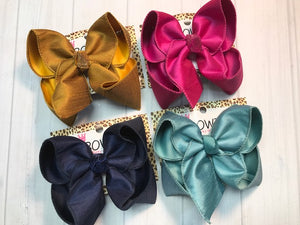 New Dressy Fall Bundle iBOWZ | Perfect for Fall | Silky Bows| Mustard | Navy | Fuchsia |Sea-foam