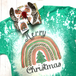 Merry Christmas Rainbow Bleached Tee ~ Matching Rainbow + Leopard iBOWZ ~ Limited Time Only