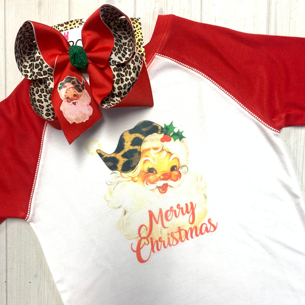 Red Vintage Santa Clause  Combo ~ Bow + Tee ~ One of a Kind Fun iBOWZ ~  Limited Time Only