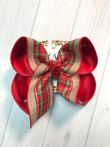 Christmas Plaid + Tan |New Limited iBOWZ | Perfect Christmas Hairbow | iBOWZ Fun & Funky Hairbows