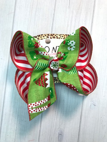 Christmas Hair bow ~ Elf New Limited iBOWZ | Lime Green + Red | Perfect Christmas Hairbow