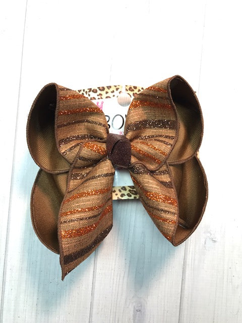 Fall stripes  in Hues of light Brown Turtan + Orange & Dark brown Glitter Stripes |New Limited iBOWZ | Perfect FALL Hairbow | iBOWZ Fun & Funky Hairbows