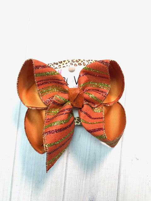 Fall Plaid in Hues of Orange Pumpkin Spice + Lime Glitter Stripes |New Limited iBOWZ | Perfect FALL Hairbow | iBOWZ Fun & Funky Hairbows