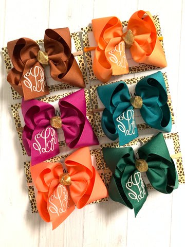 Jewel-tone Fall Monogram Triple Initial Monogram ~ Choose your bow color ~ by iBOWZ