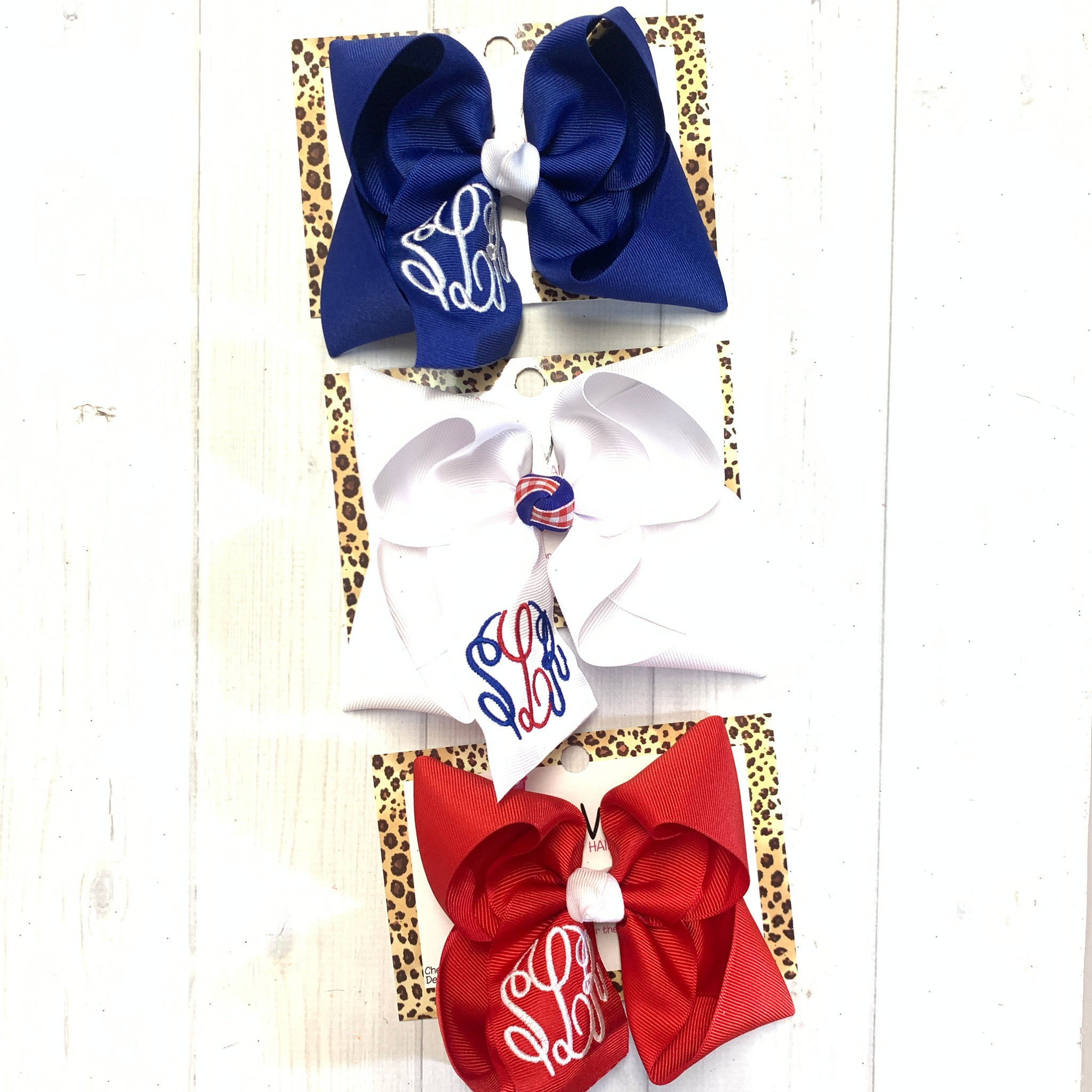 Monogram Patriotic Fun bows ~ Choose your bow color ~ Triple Initial Monograms by iBOWZ