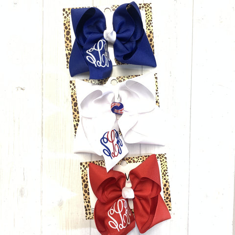 BUNDLE ~ Monogram  Patriotic Fun bows ~  ~ Triple Initial Monograms by iBOWZ