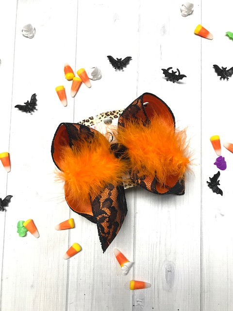 New Halloween BLACK Lace hair bow by  iBOWZ | This bow will put a SPELL ON YOU !!! Perfect for your Pumpkin Pie