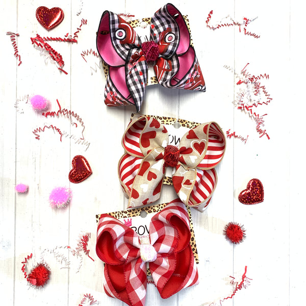 Valentines Day Fun Bow ~ Faux Burlap Hearts Layered on Red & White Stripe ~Hairbow by iBOWZ