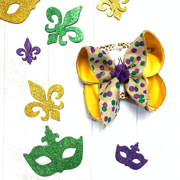 MARDI GRAS Glitter Square Dots Fun bow  ~ Perfect for Parades ~ Hairbows by iBOWZ