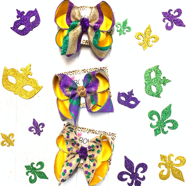 Mardi Gras Faux Burlap Glitter Stripes ~ Parade Fun bow ~ Hairbows by iBOWZ