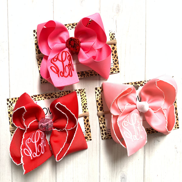 Monogram Valentines day ~ Choose your bow color ~ Triple Initial Monograms by iBOWZ