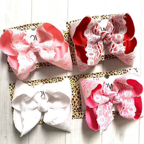 Lace Bows ~ Valentines Day & Easter Fun bows ~ by iBOWZ Fun & Funky Hairbow