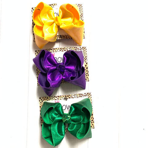 Purple, Yellow & Emerald Green Metallic Silk Fun iBOWZ | Choose your bow color | Perfect for Mardi Gras & Saint Patricks Day outfits