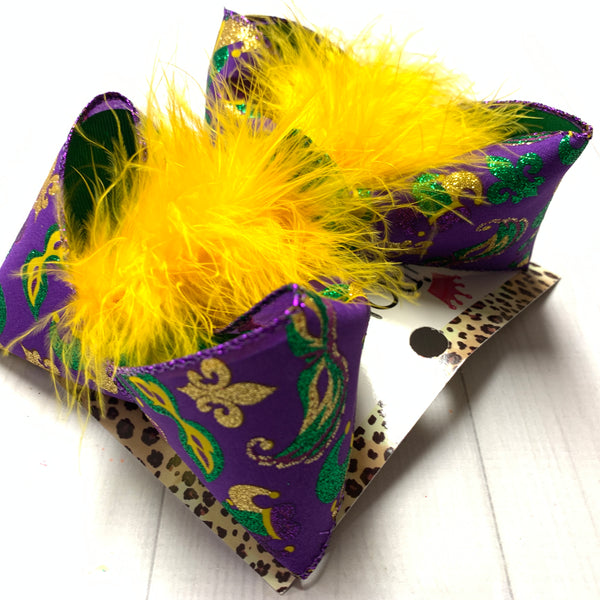MARDI GRAS  Mask Fun bow  ~ Perfect for Parades ~ Hairbows by iBOWZ