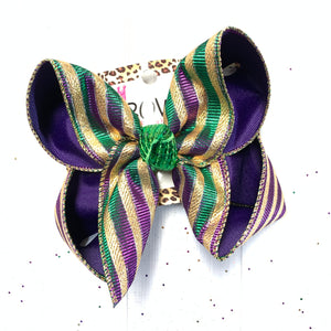 MARDI GRAS Iridescent Fun bow  ~ Perfect for Parades ~ Hairbows by iBOWZ