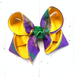 MARBLE GLITTER MARDI GRAS bow ~ Parade Fun bow ~ Hairbows by iBOWZ