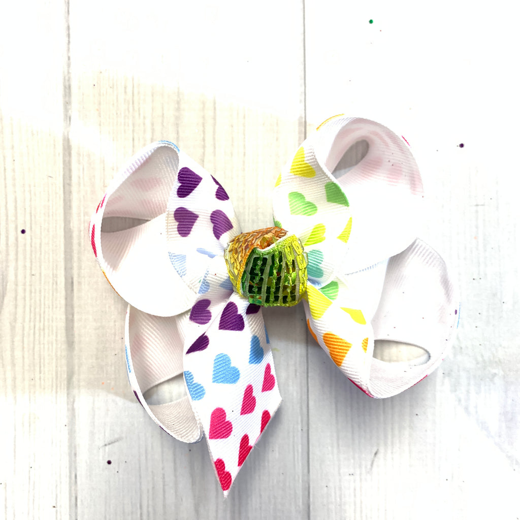 Valentines Day Fun Printed bows ~ Hairbows by iBOWZ- Limited Time- Ombre Hearts