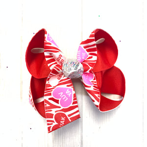 Valentines Day Fun Printed bows ~ Hairbows by iBOWZ- Limited Time- Red Conversation hearts