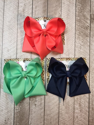 Solid Basic Hairbow Bundle -Coral, Mint and Navy blue