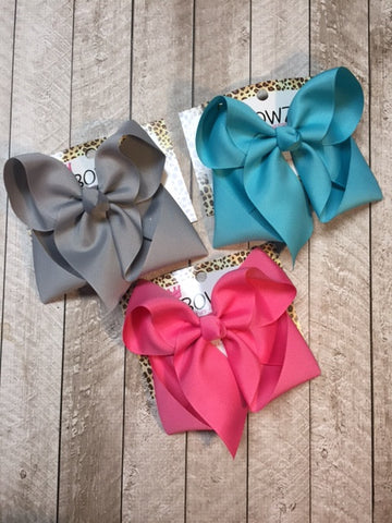 Solid Basic Hairbow Bundle| GRAY, TURQUOISE, HOT PINK