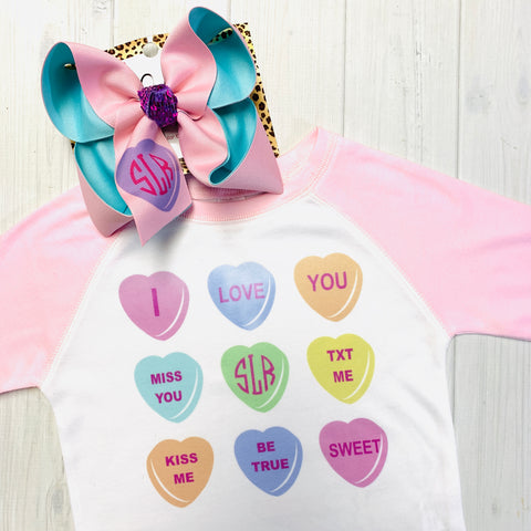 Personalized Conversation Hearts Valentines Fun Combo ~ Bow + Tee ~ One of a Kind Fun iBOWZ ~  Limited Time Only