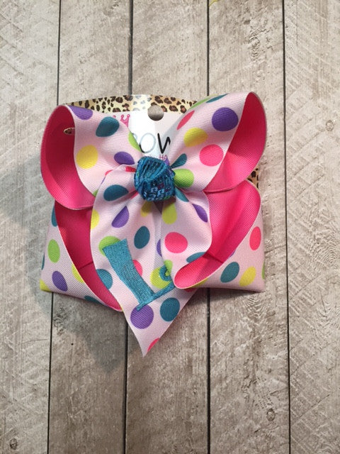 Monogram initial Fun polka dots monogram bow in all sizes ~ Matches everything!