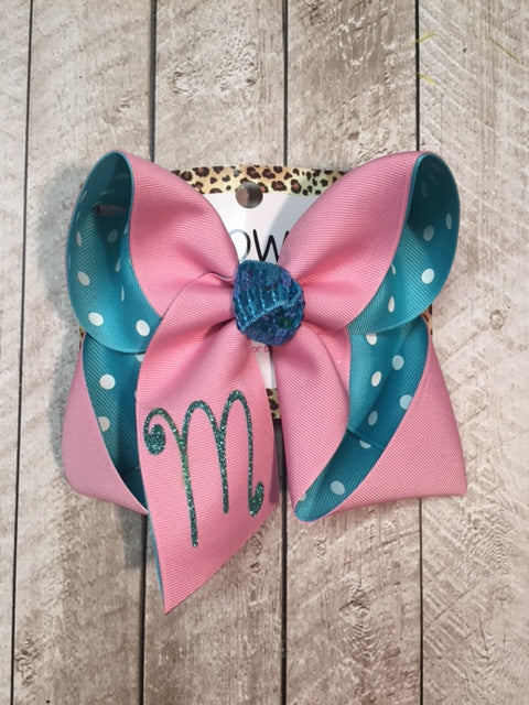 MONOGRAM INITIAL HAIRBOWS~ PINK & TURQUOIS POLKA DOTS! VINYL GLITTER INITIAL