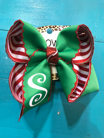 Large CHRISTMAS MONOGRAM |Emerald ribbon grosgrain with red moon stitch on red & white stripe