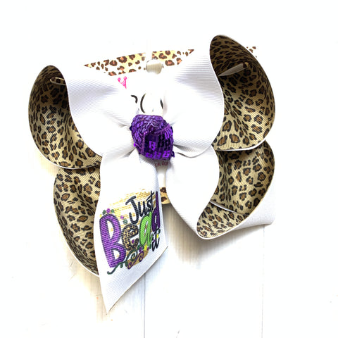 Just Bead it! ~ Mardi Gras Fun Bow Only ~ One of a Kind Fun iBOWZ ~Limited Time Only
