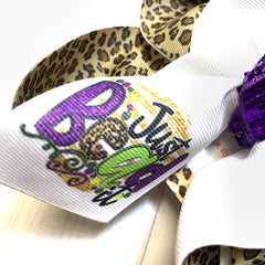 Just Bead it! ~ Mardi Gras Fun Tee Combo ~ Bow + Tee ~ One of a Kind Fun iBOWZ ~  Limited Time Only