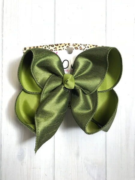New Moss Green  Silk  Duponi iBOWZ ~  Perfect for the upcoming Fall Fun!