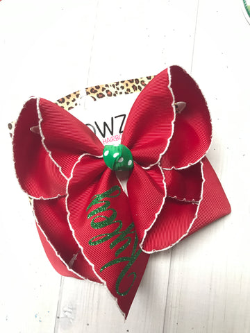 Christmas Monogrammed Name Hairbow | Cranberry Moon-Stitch ribbon & Emerald Green glitter vinyl