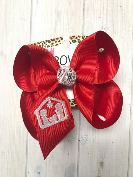 Nativity Manger Scene | Monogrammed on a Red HairBow