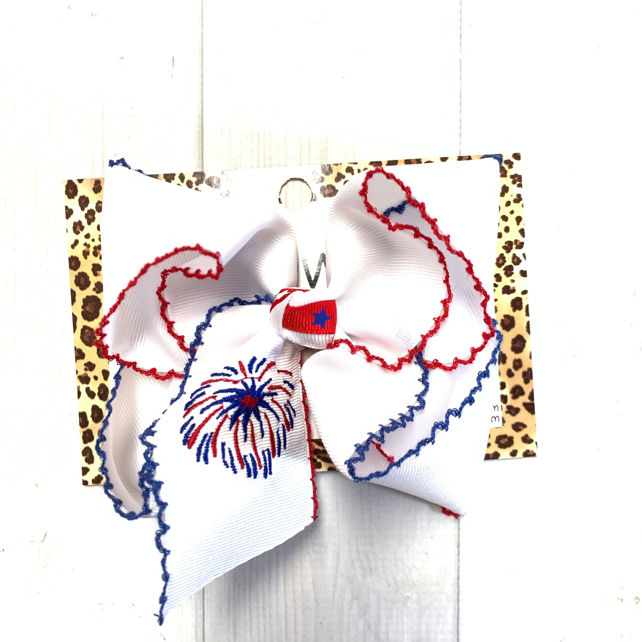 Red & Blue Moon-Stitch Bow with FIREWORK Monogram Oh MY! ~Perfect For Patriotic Holidays