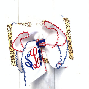 Red & Blue Moon-Stitch Bow with Triple initial Monogram Oh MY! ~Perfect For Patriotic Holidays & School Bows