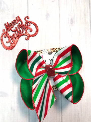 New Christmas Hairbows |  Jolly Stripes | Merry Christmas