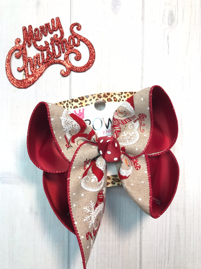 New Christmas Hairbows |  Snowman Christmas fun bow  | Merry Christmas