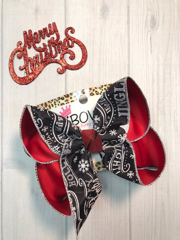 New Christmas Hairbows |  Black & white Christmas Sayings fun bow  | Merry Christmas