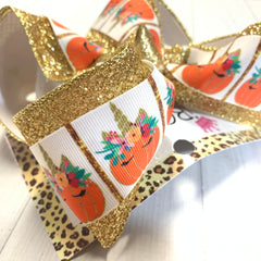 Pumpkin Patch Unicorn Fall Fun bow ~ Perfect All your Fall Functions + Great for Photoshoots
